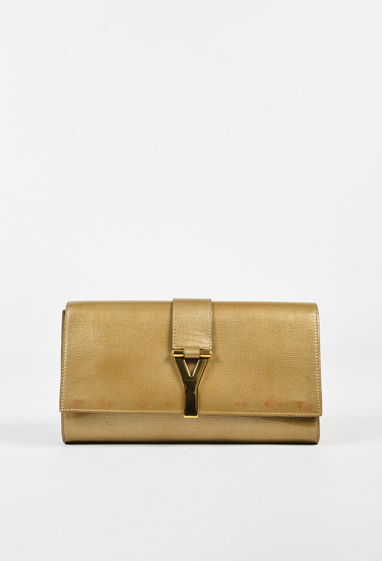 """Yves  Gold Patent Leather Front Flap """"Chyc"""" Clutch Bag"""