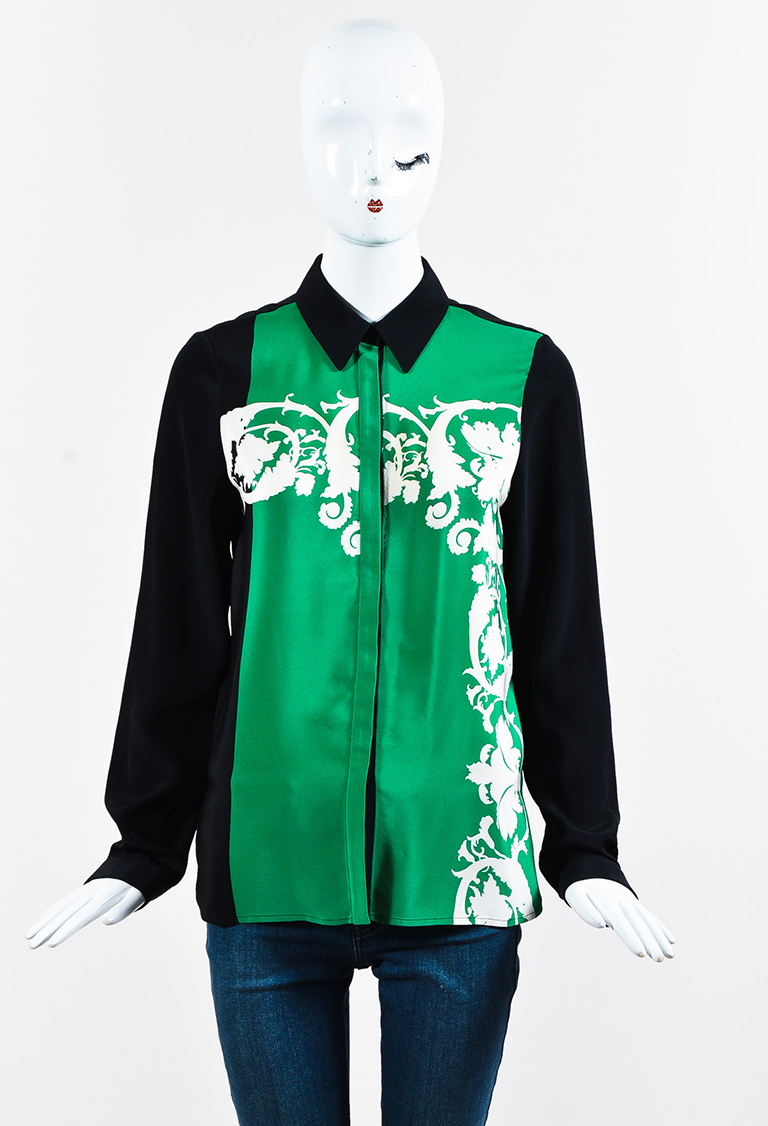 Green Multicolor Silk Collared Button Up Blouse
