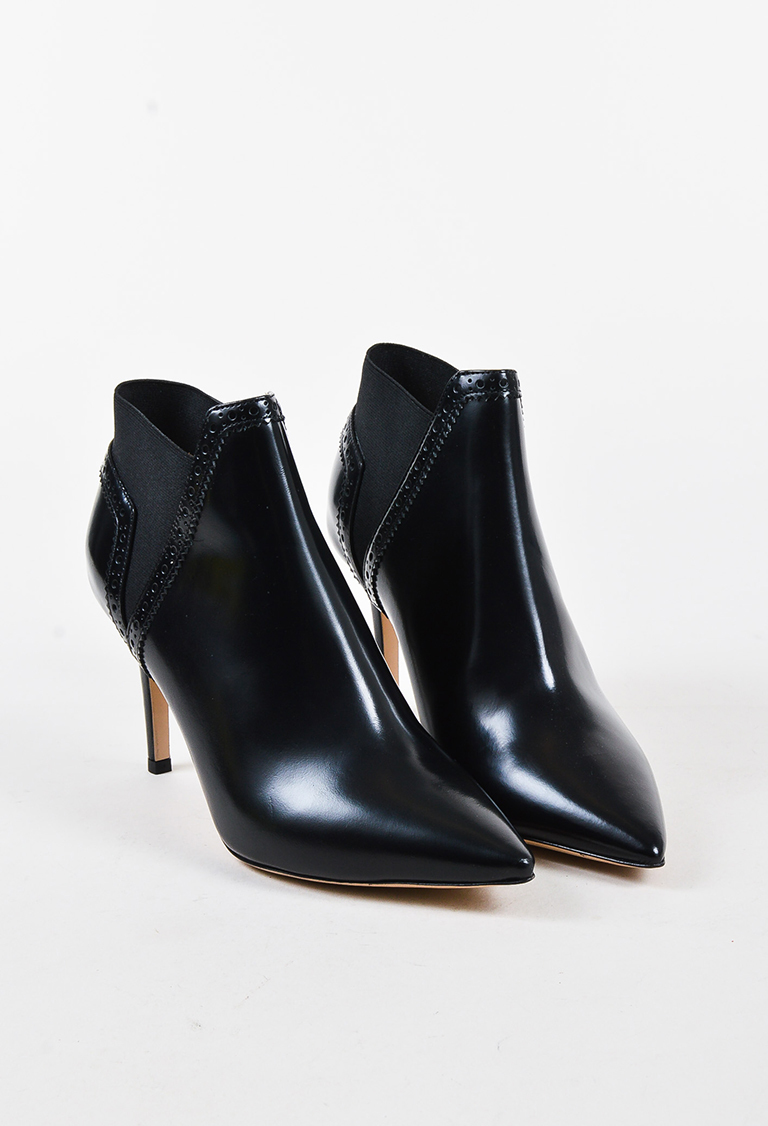 "Black Brushed Calf Leather Brogue ""Meg"" Ankle Boots"