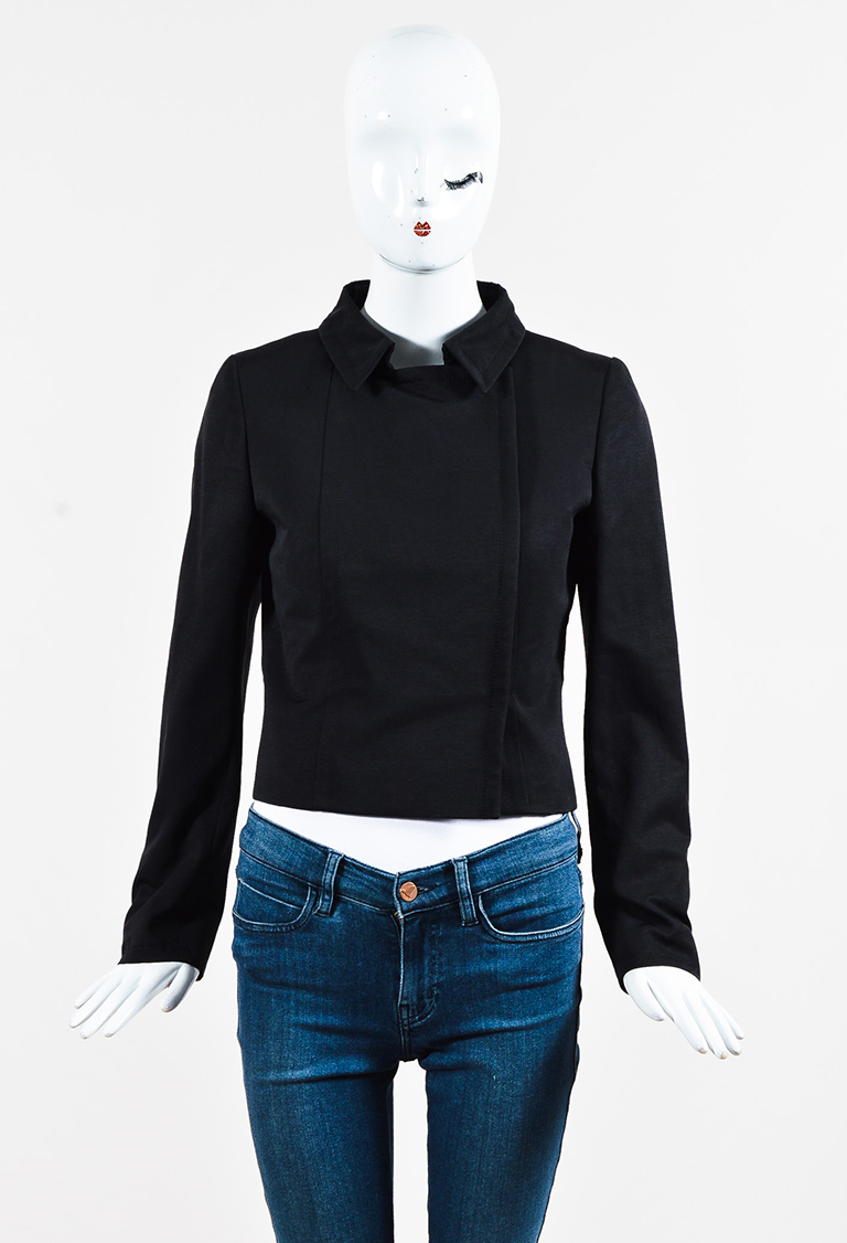 Black Cotton Blend Collared Double Breasted Jacket