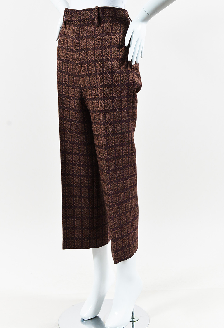 Brown Wool Patterned Cropped Wide Leg Pants
