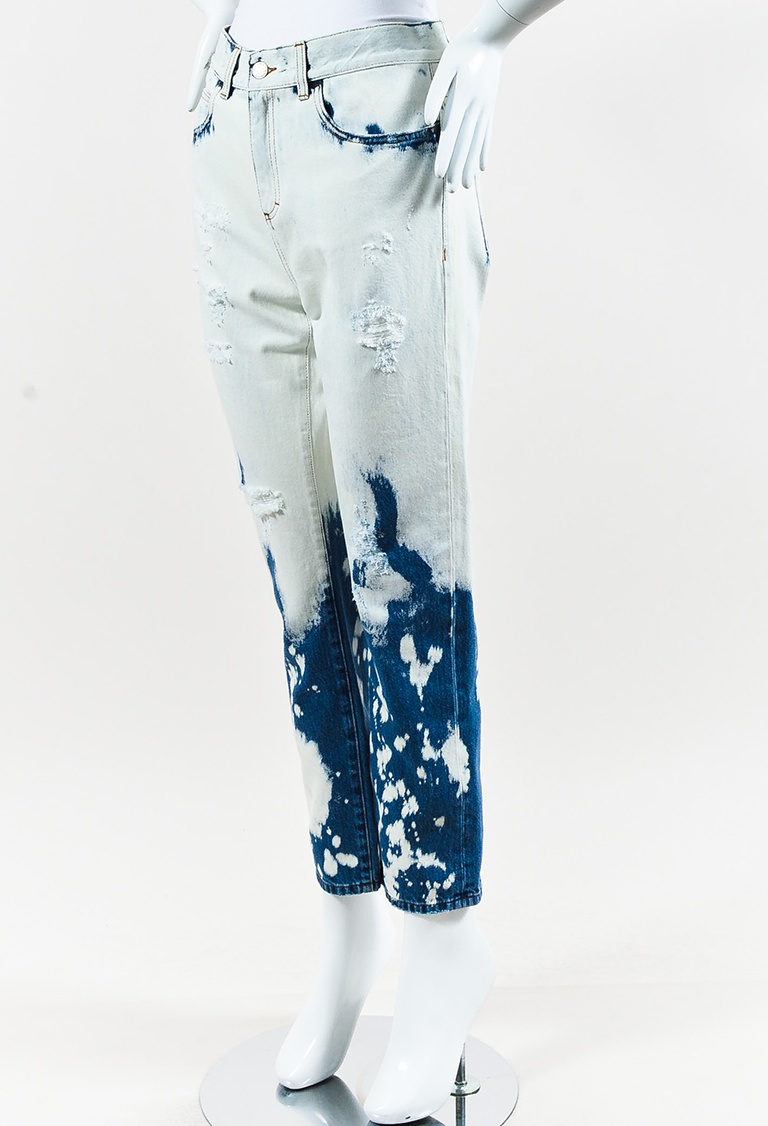 Light Blue Denim Bleached & Distressed Jeans