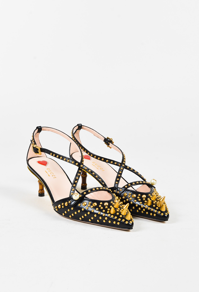 Black Leather Studded Cross Strap Bamboo Heel Pumps