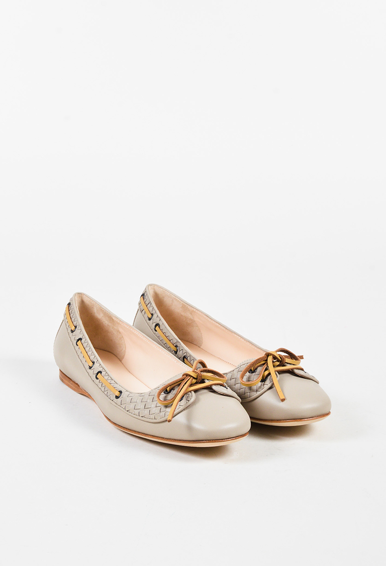 Taupe & Beige Leather Intrecciato Lace Up Flats