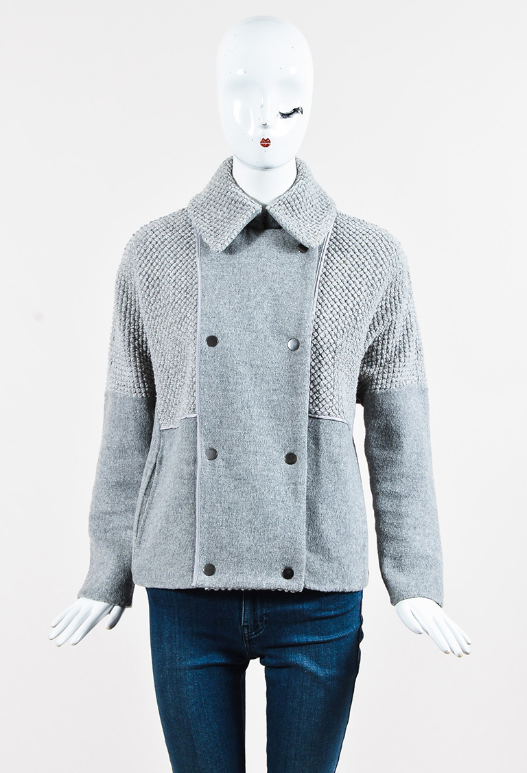 Grey Wool Blend Double Breasted Jacket