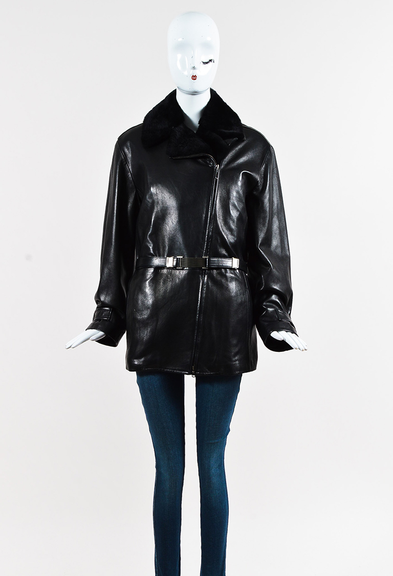 Black Leather & Mink Fur Asymmetric Zipped Belted Coat