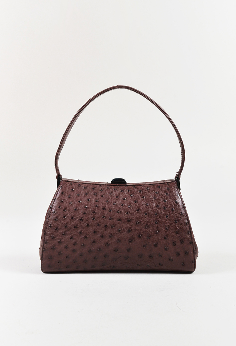 Purple Ostrich Skin Top Handle Frame Handbag