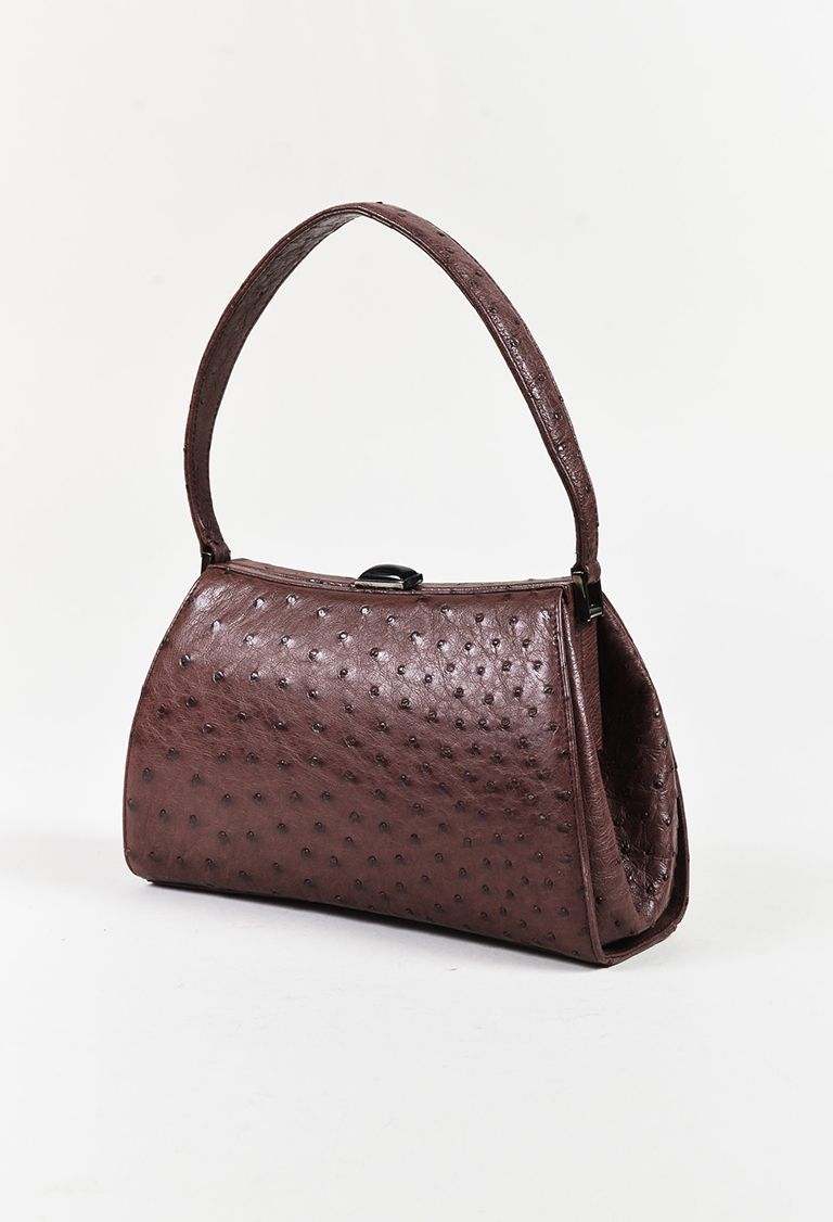 df040eb0822 Giorgio Armani Purple Ostrich Skin Top Handle Frame Handbag   eBay
