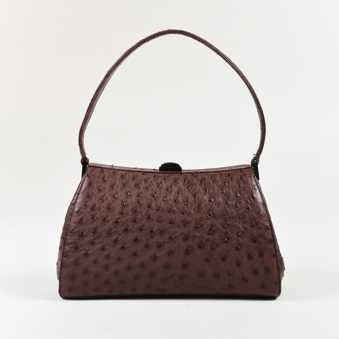 d084c909b41 Details about Giorgio Armani Purple Ostrich Skin Top Handle Frame Handbag