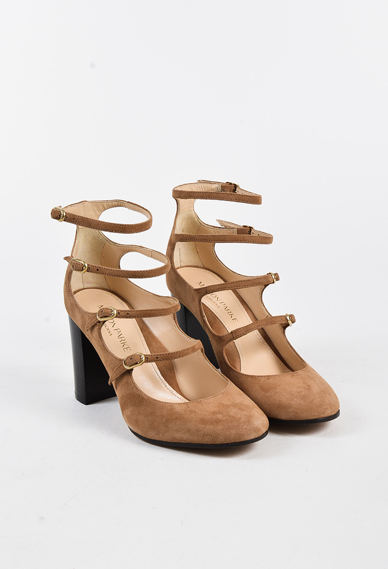 "Camel Suede Strappy Mary Jane ""Kay"" Pumps"