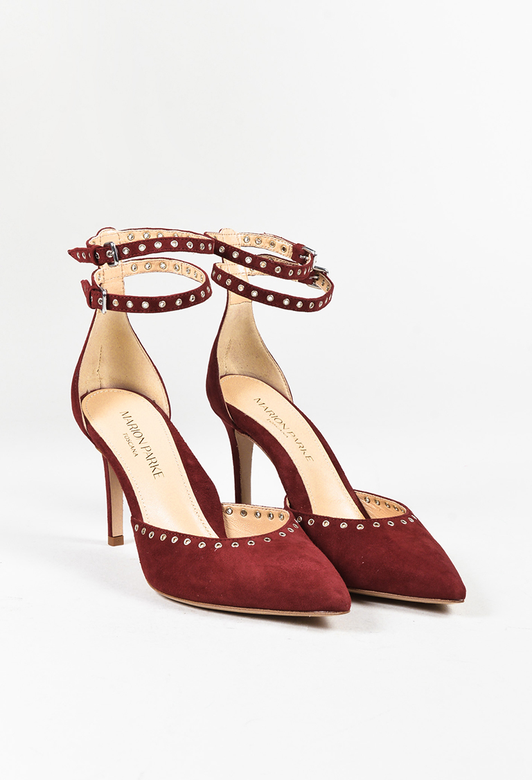 "Red Suede Grommet Ankle Strap ""Maxine"" Pumps"