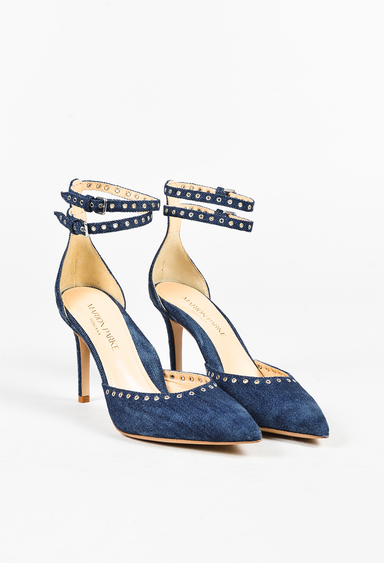 "Blue Denim Grommet Ankle Strap ""Maxine"" Pumps"