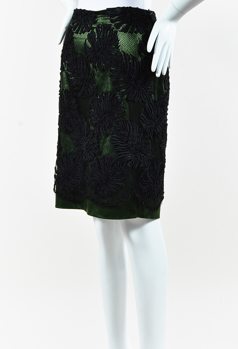 Black & Green Lace & Satin Pencil Skirt