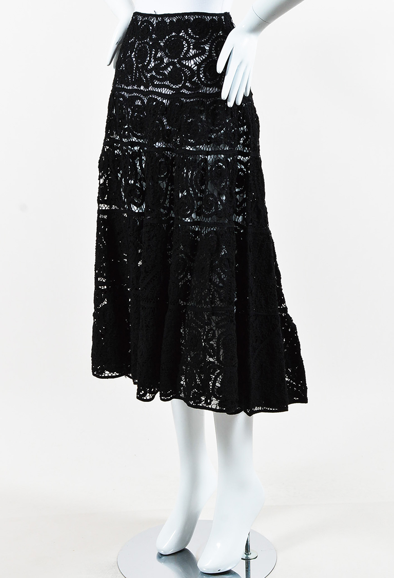 Black Crochet Lace Flared Skirt
