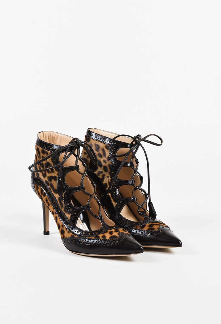 """Animal Print Calf Hair Leather """"Miki"""" Lace Up Pumps"""