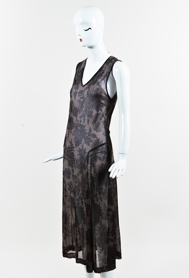 Brown Sheer Floral Print Asymmetric Maxi Dress