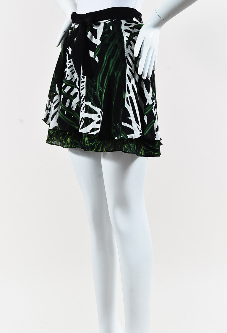 Green Multi Silk Leaf Printed Mini Skirt