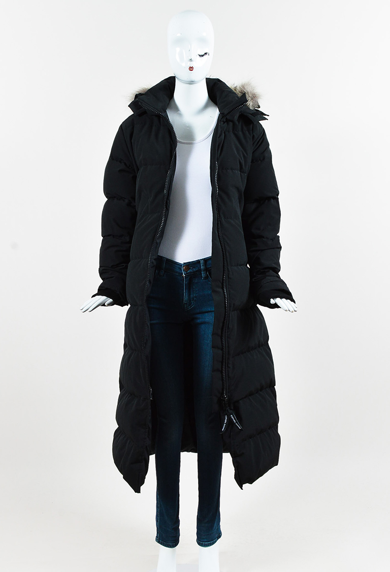 Black Down Coyote Fur Trim Quilted Hooded Parka Coat