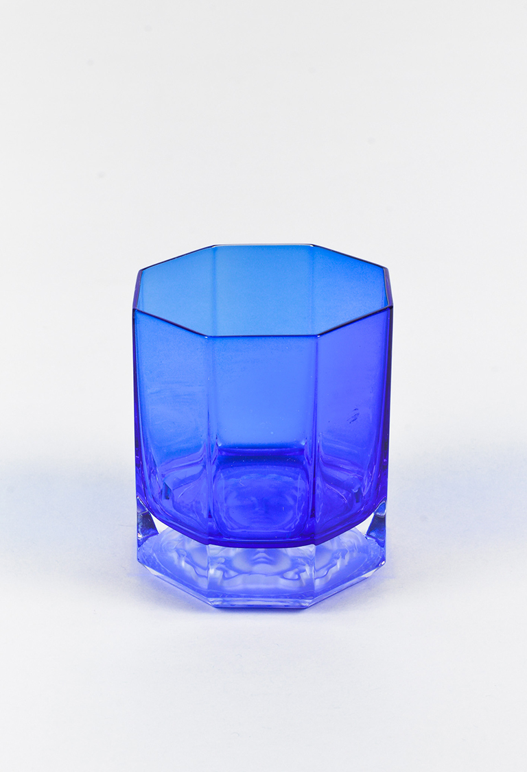 Blue Medusa Lumiere Old Fashioned Glass