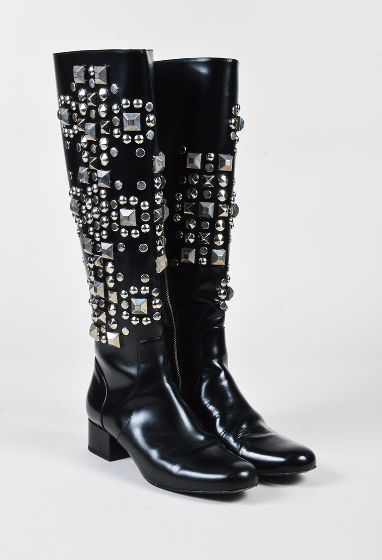 """""""Nero"""" Black Leather Silver Tone Studded Knee High Boots"""