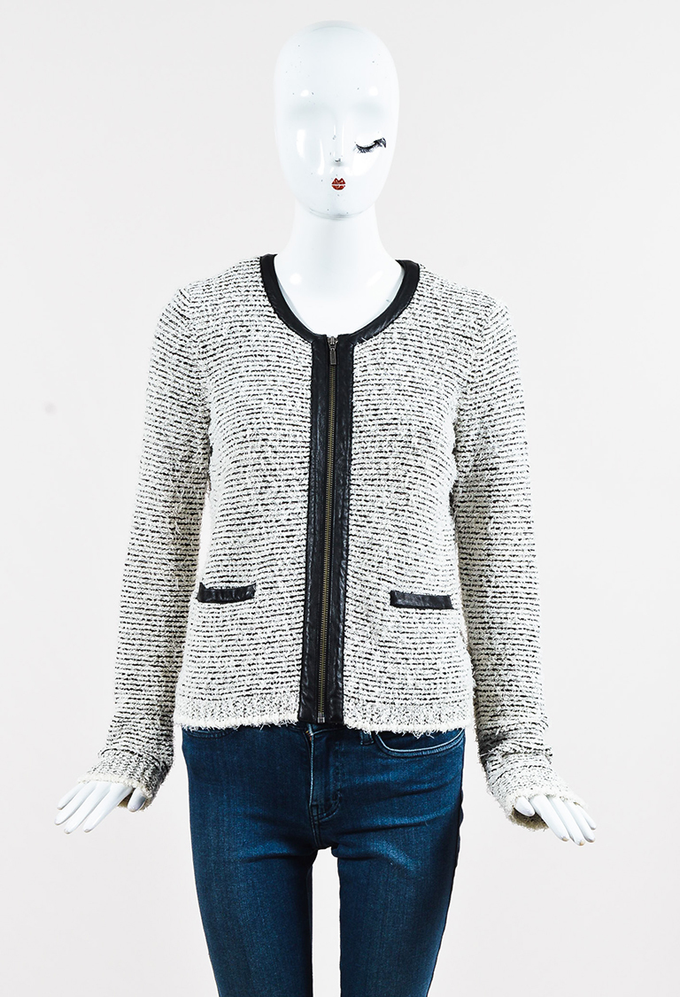 White & Black Tweed & Goat Leather Zipped Jacket