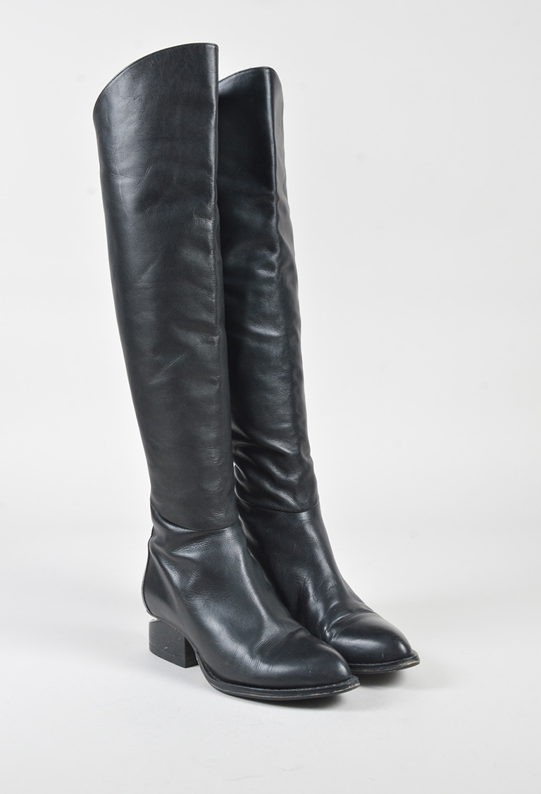 "Black Leather Silver Tone Knee High ""Sigrid"" Boots"