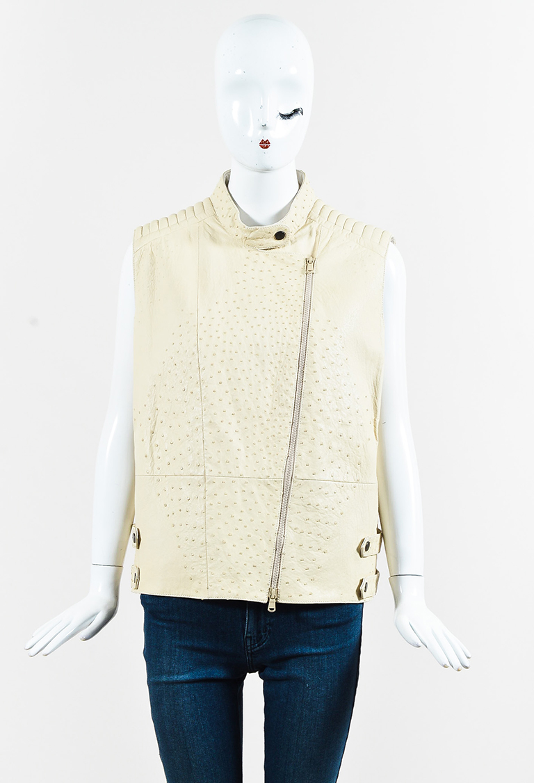 Cream Ostrich Leather Moto Vest