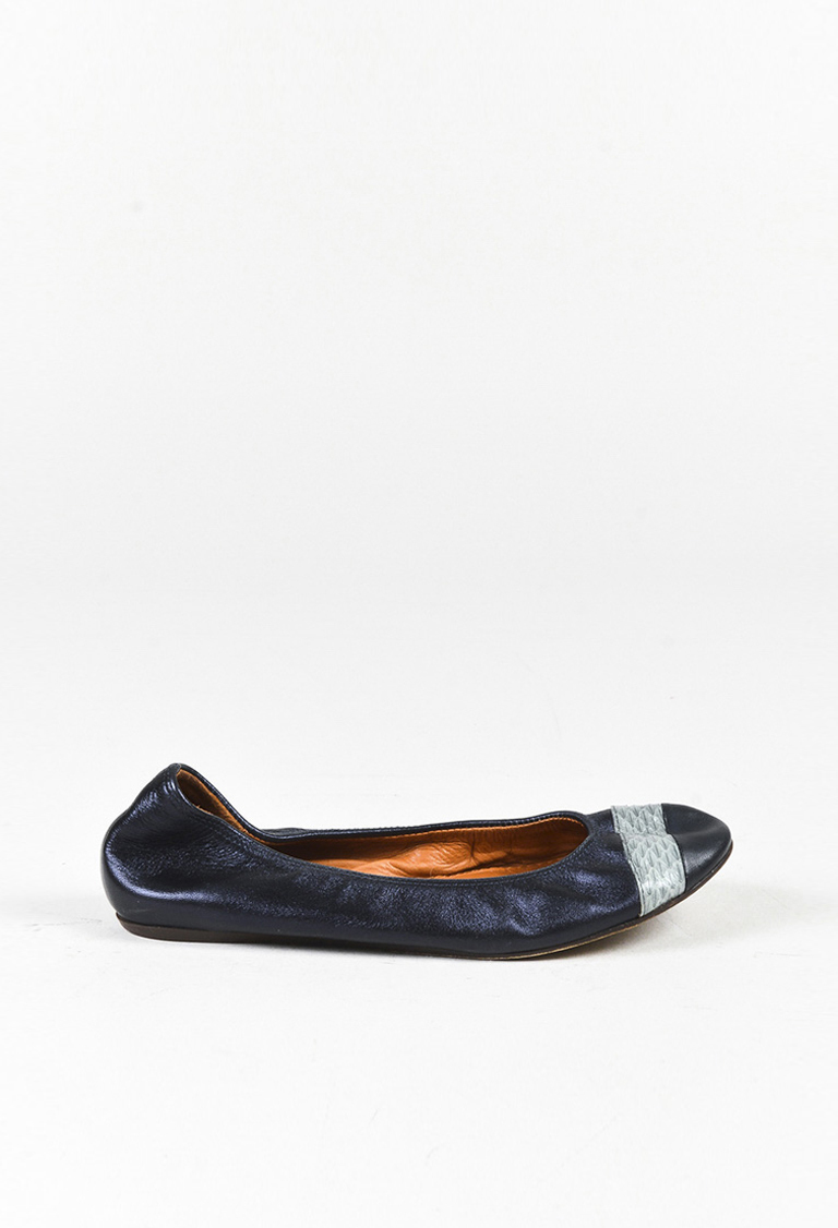 Blue Leather Genuine Snakeskin Trim Ballet Flats