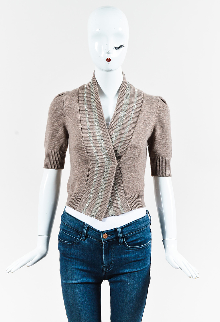 Brown Cashmere Knit Sequined Cropped Cardigan