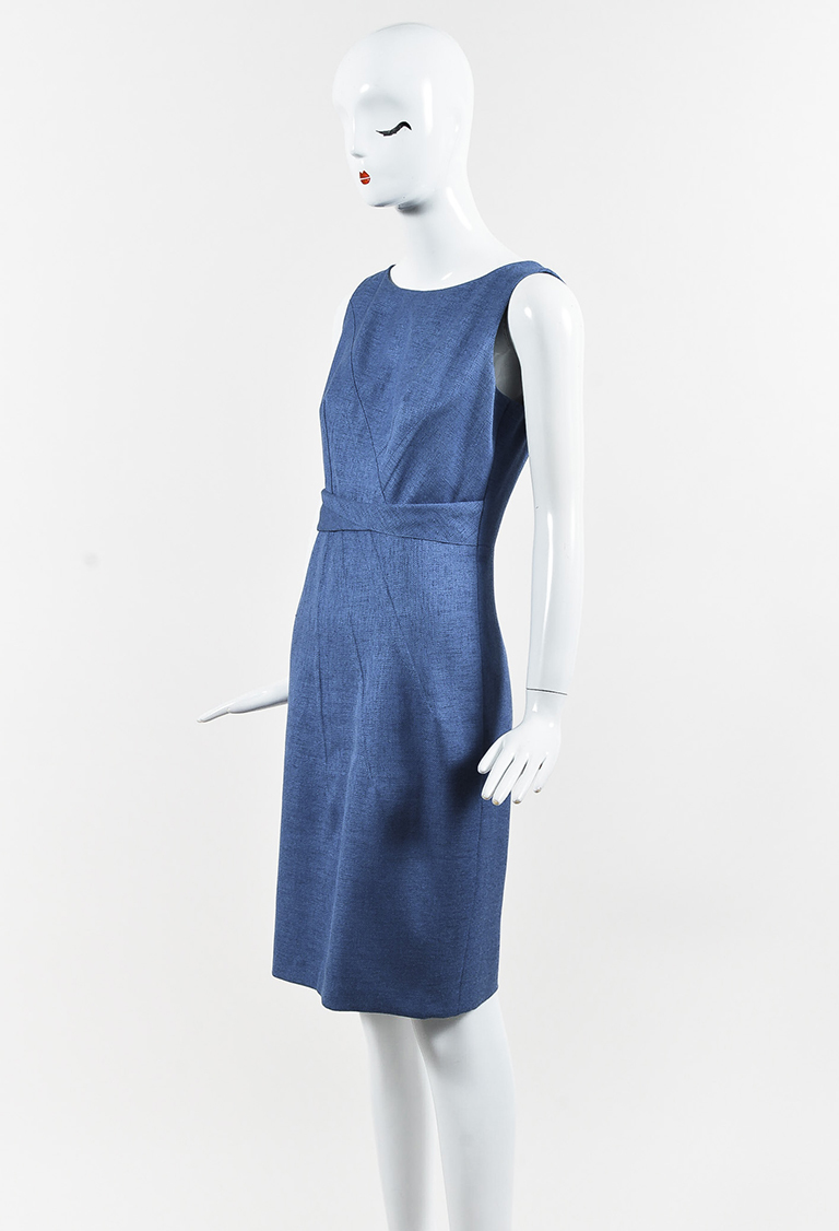 Blue Asymmetric Sheath Dress