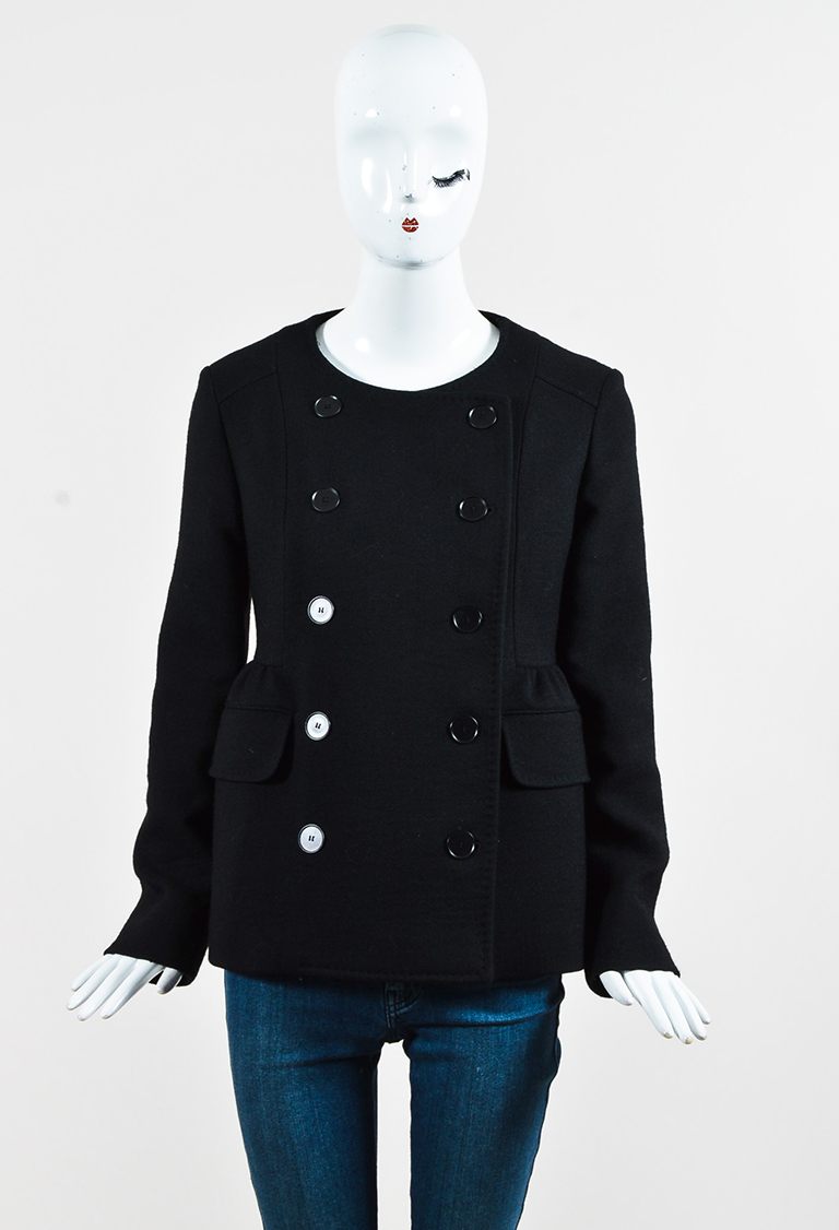 Black Wool Double Breasted Button Up Coat