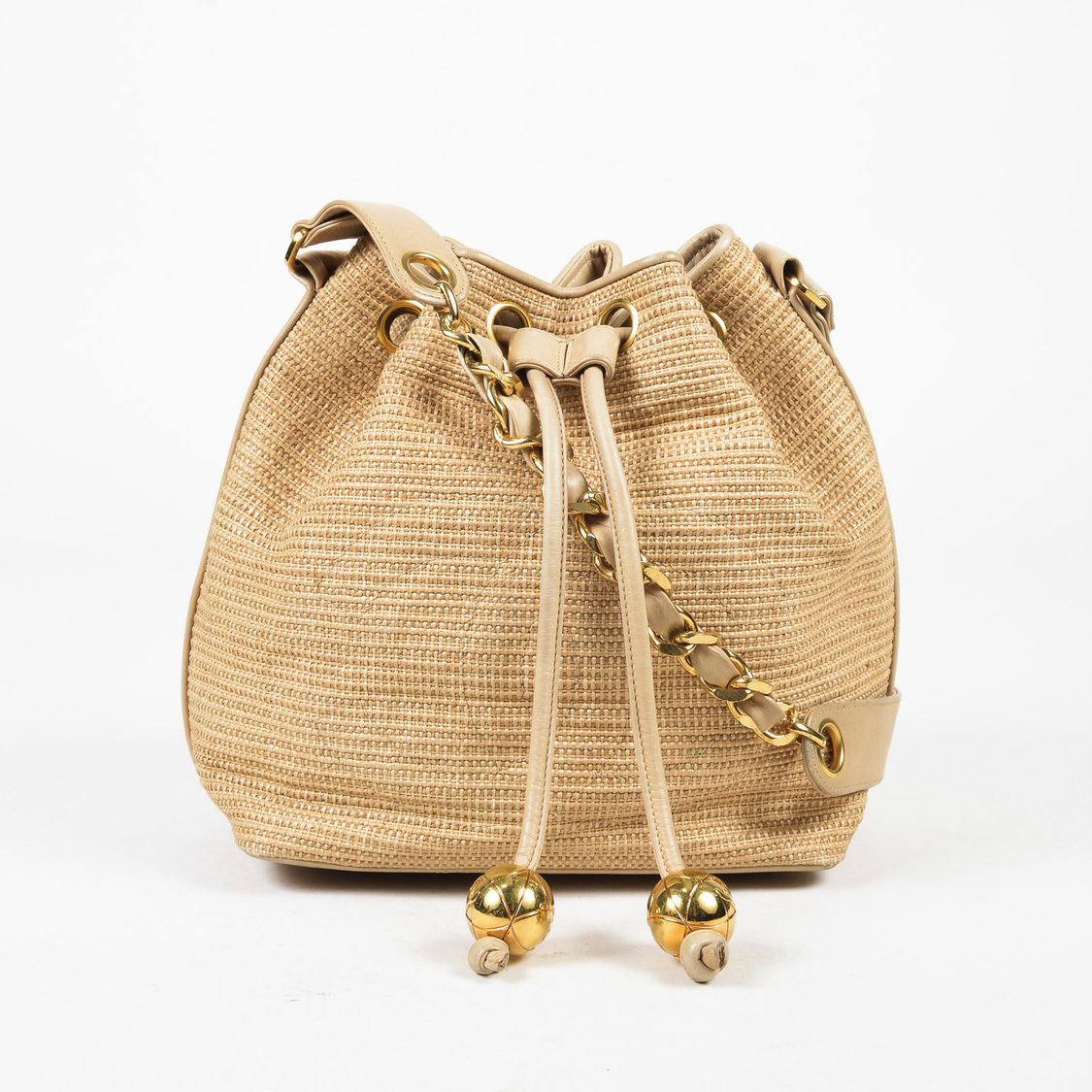 VINTAGE Chanel Brown Raffia Straw Leather Drawstring Bucket Bag EBay - What is an invoice paypal chanel online store