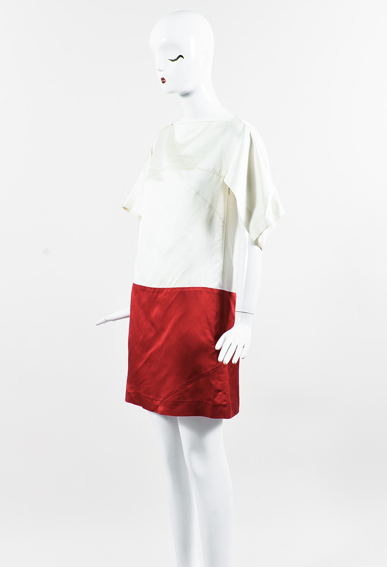 White & Red Silk Cap Sleeve Colorblock Shift Dress