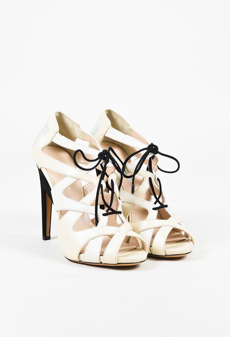 Cream Black & Metallic Silver Leather Sandals