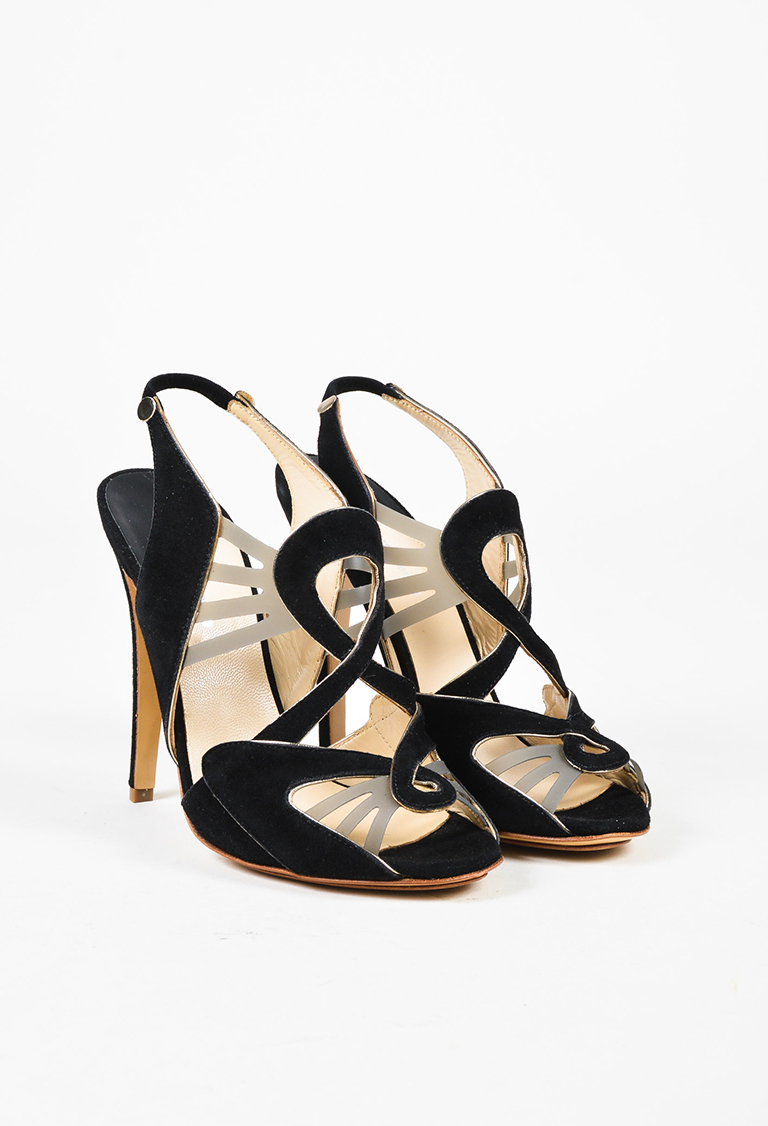 """Nero"" Black & Gray Suede Cutout Sandals"