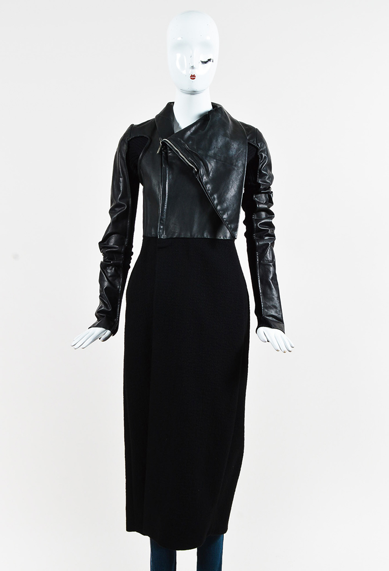 Black Cashmere Blend & Leather Paneled Long Coat