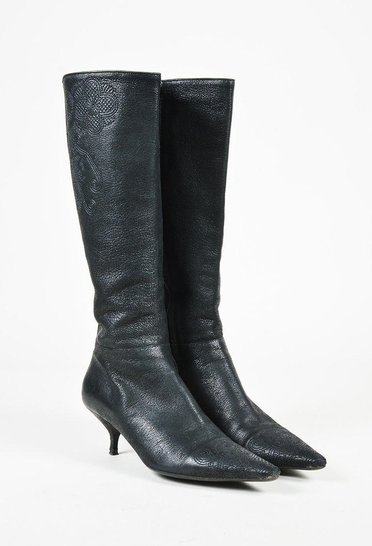 Black Pebbled Leather Embroidered Knee High Boots