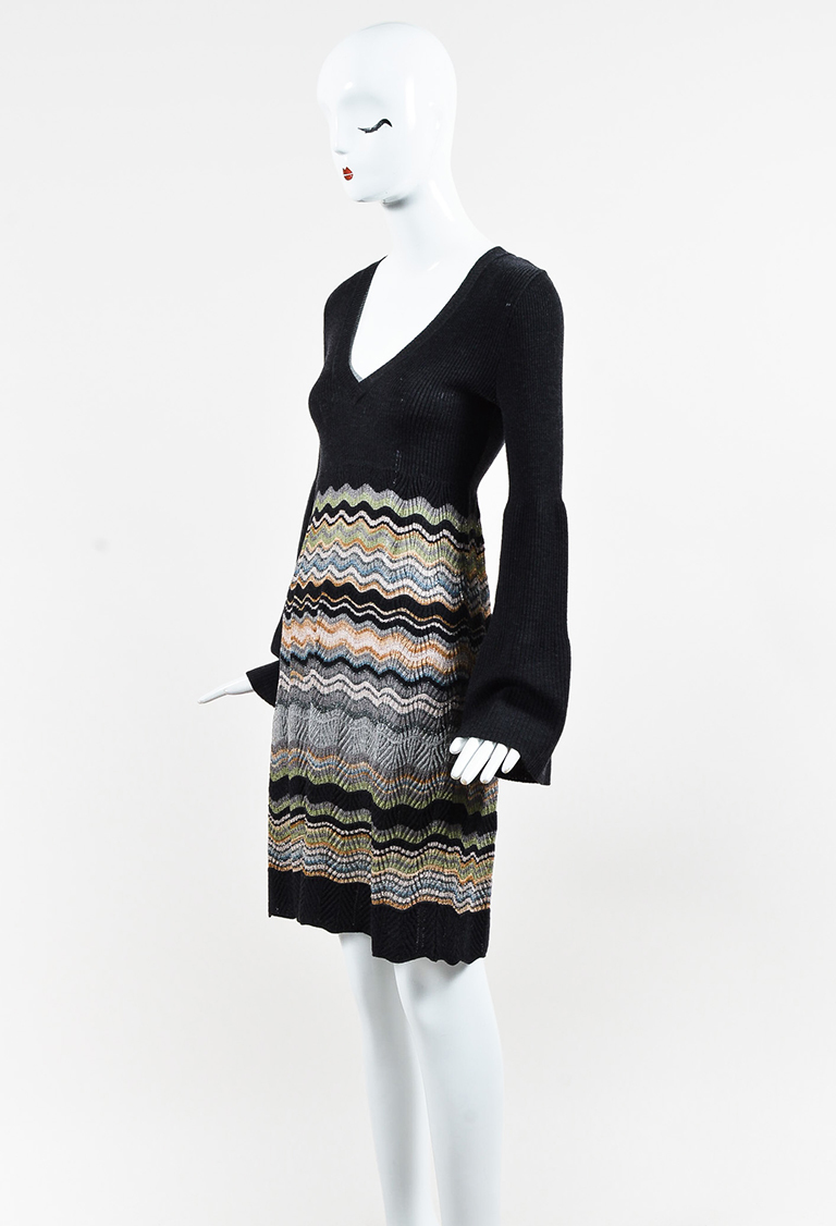 M  Gray Metallic Multicolor Knit Striped Dress