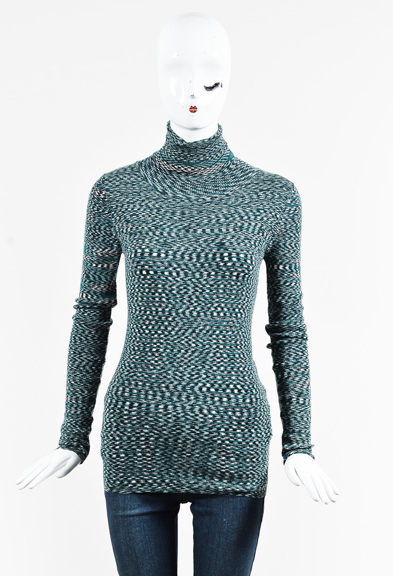 Green Multicolor Wool Knit Long Sleeve Turtleneck Sweater