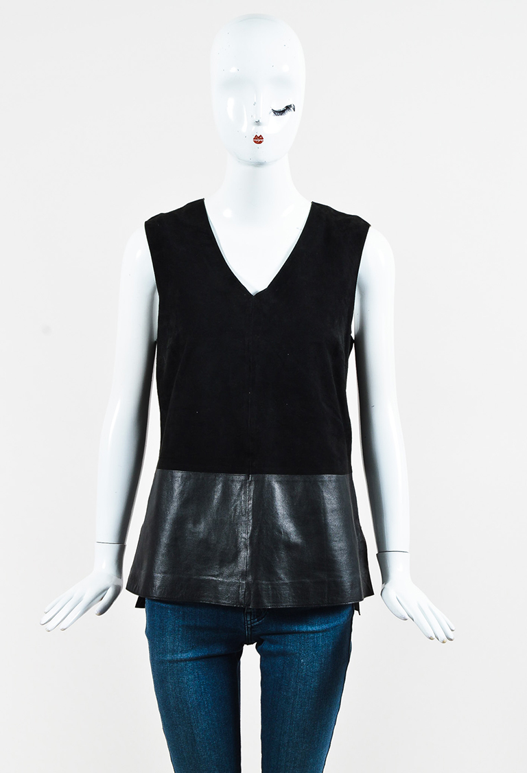 6f5c18257ffaf9 Vince. Black Suede   Leather Sleeveless V Neck Top