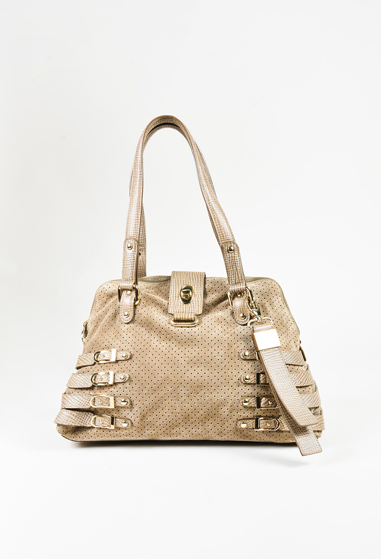 """Taupe Suede & Leather """"Bree"""" Satchel Bag"""