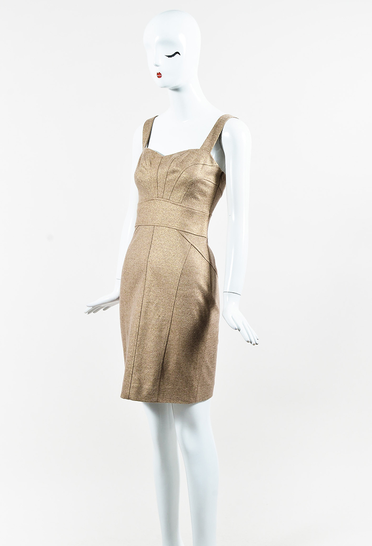 Metallic Gold Sleeveless Paneled Sheath Mini Dress