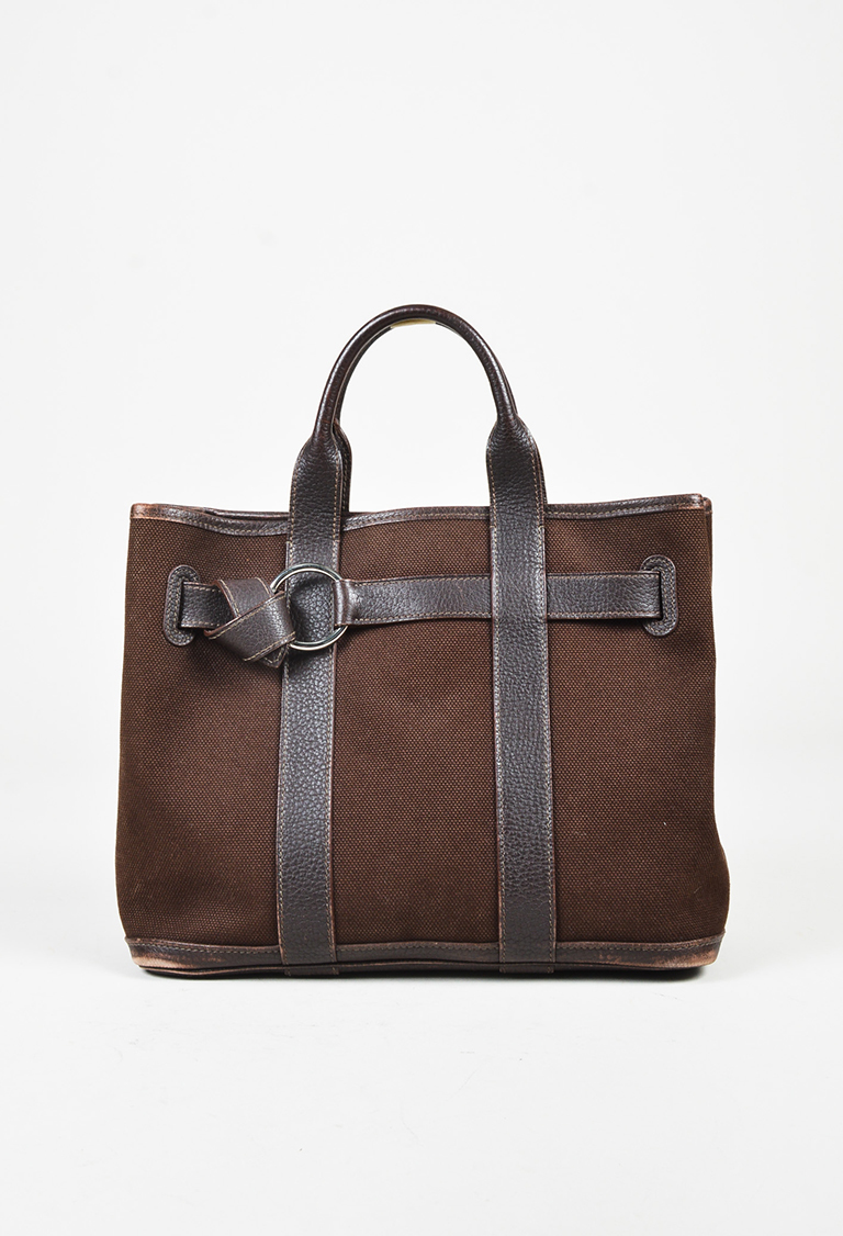 """Ebene"" Brown Fjord Canvas & Leather ""Ceinture PM"" Bag"