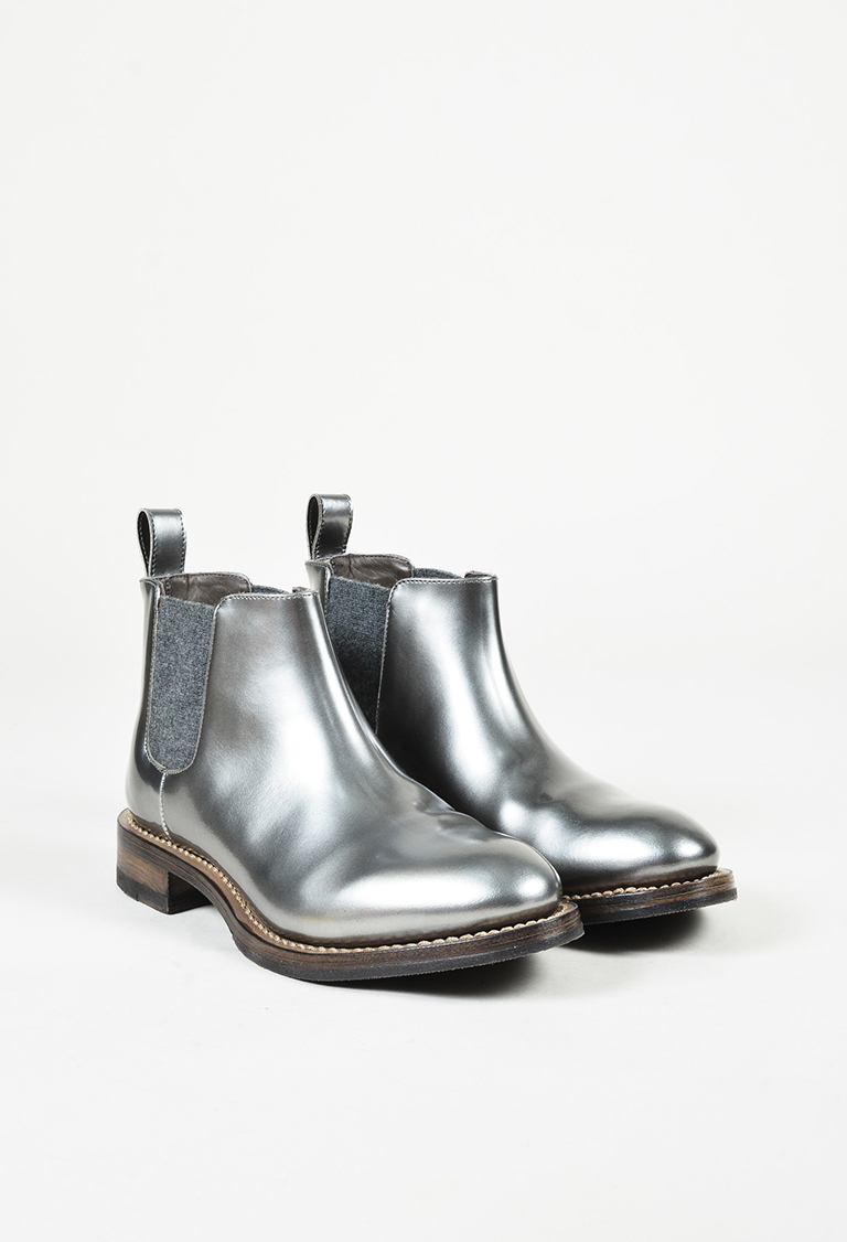 Metallic Silver Leather & Knit Chelsea Boots
