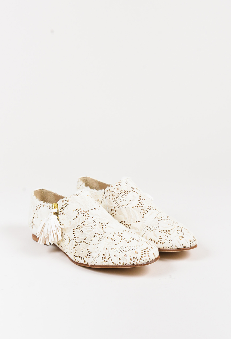 """White Lace """"Mr. Holly Zip"""" Flats"""