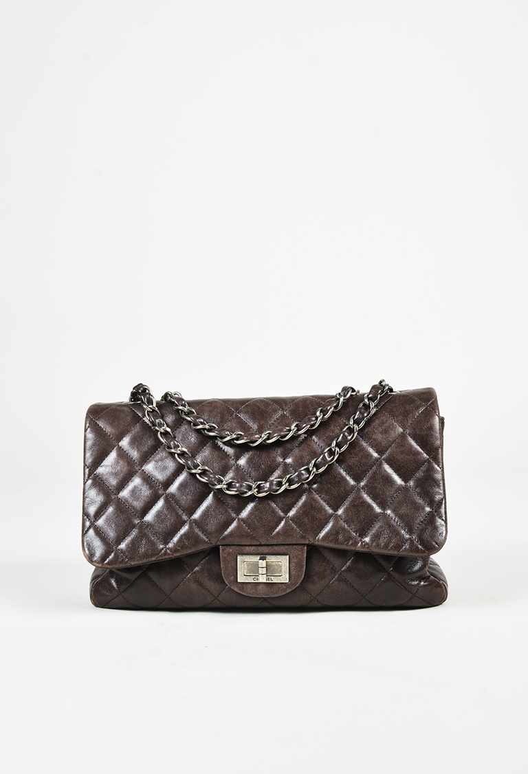 """Brown Quilted Lambskin Leather Silver Tone """"Flap"""" Bag"""