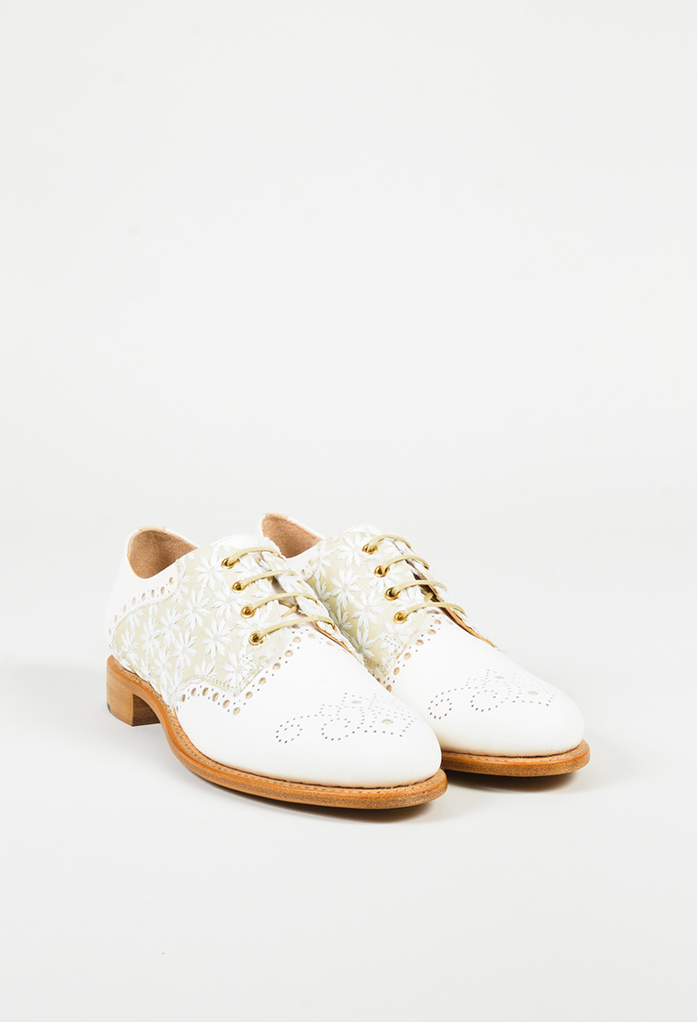 Cream Leather Lace Up Mr. Presley Brogues