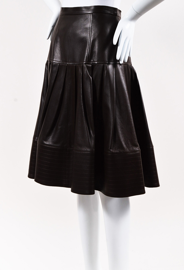 Fall 2008 Brown Leather Pleated Skirt