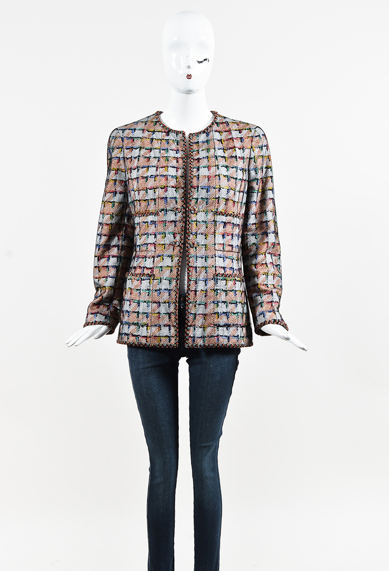 Boutique Multicolor Print Sheer Overlay Beaded Jacket