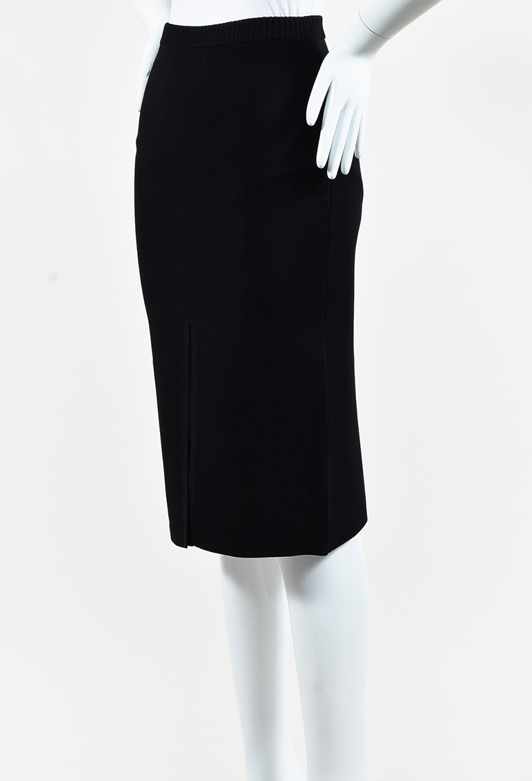 Black Knit Reverse Split Pencil Skirt